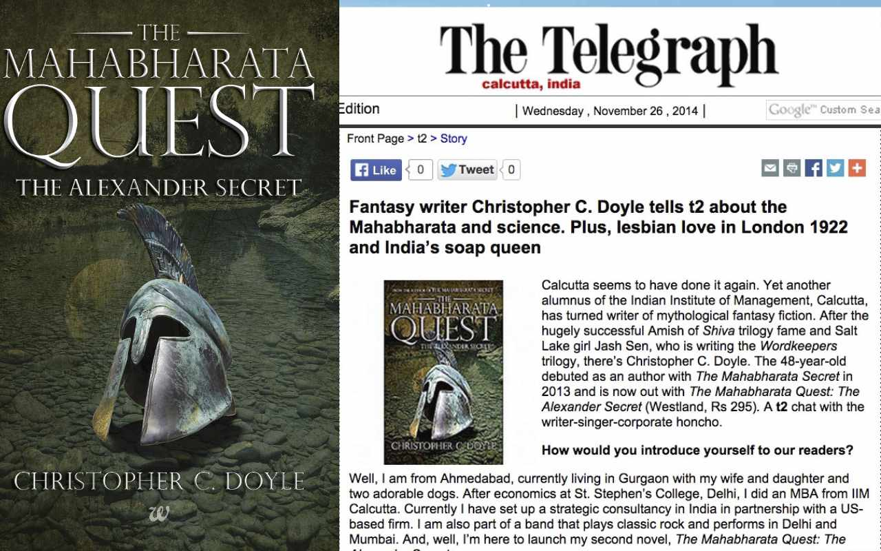 Fantasy writer Christopher C. Doyle tells t2 about the Mahabharata and science: The Telegraph